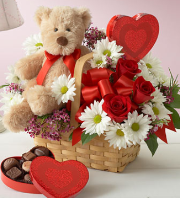 BEAR BASKET OF FLOWERS AND CHOCOLATES