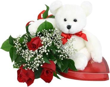3 WRAPPED ROSES WITH TEDDY BEAR AND CHOCOLATES