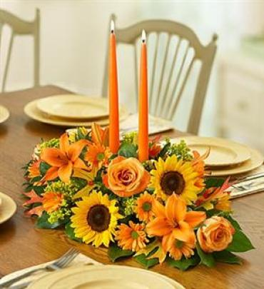 Fall Centerpiece with 2 candles