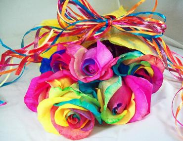 6 wrapped Rainbow Roses