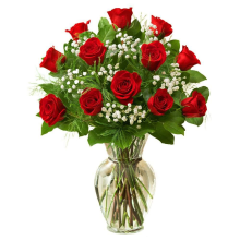 DOZEN RED LONGSTEM ROSES VASED