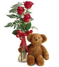 3 RED ROSES VASED WITH BEAR